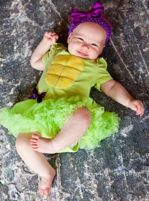 Baby Girls Ninja Turtles Costume Bodysuit Romper Pettiskirt Tutu & Bow Headband