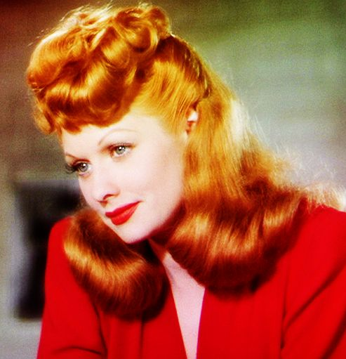 Lucille Ball in beautiful full color.: Lucil Ball, Red Hair, Red Lips, Movie Stars, Lucille Ball, New Hair Colors, Famous Redheads, I Love Lucy, Red Head
