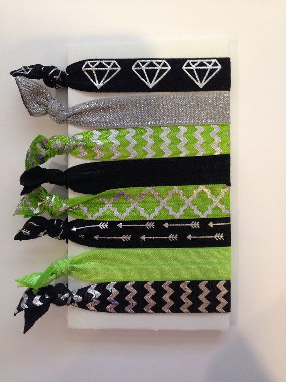 It Works Global inspired   Green, Black and Bling hair ties