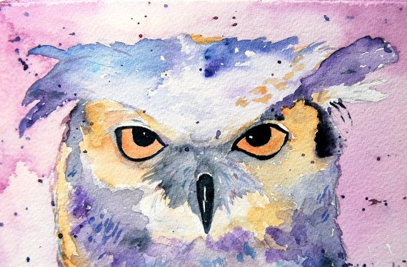 Purple Owl Painting - Watercolor Print, Horned Owl ...