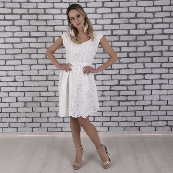 Mini Wedding Dress Lace Mini Wedding Dress by TheDearestBridal
