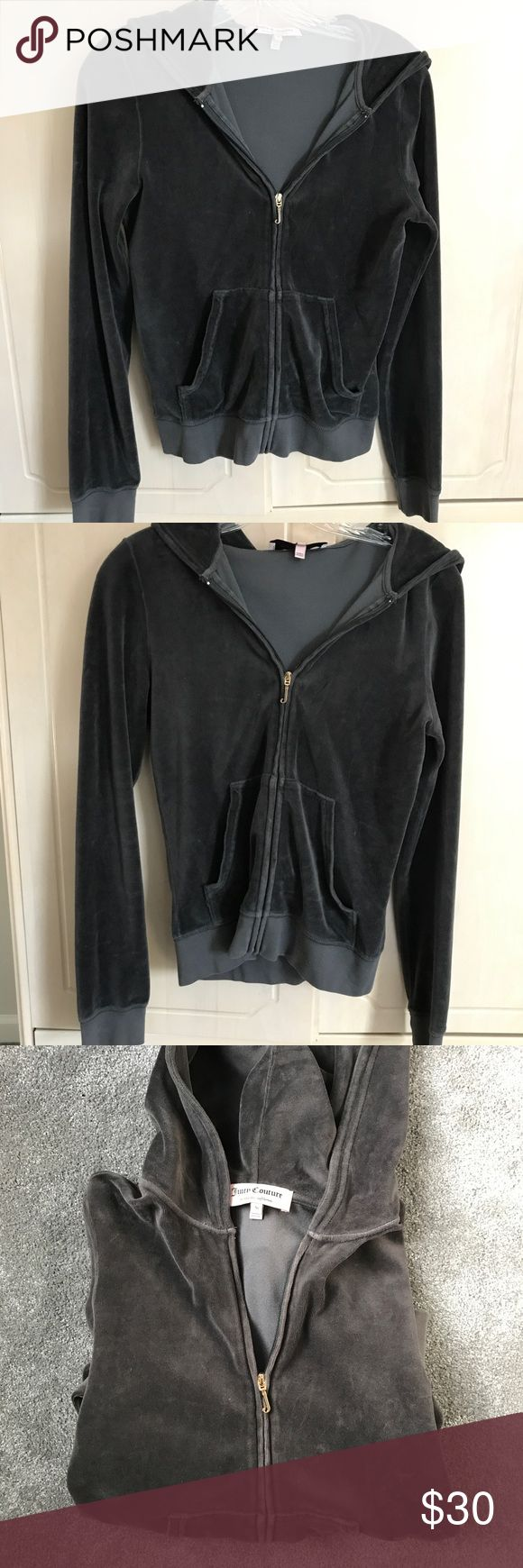 dark grey JUICY jacket Dark grey velour JUICY COUTURE jacket with gold zipper.  size M, fits like a s/m. Worn very few times, excellent condition, no major signs of wear, super soft. pants available as well for full tracksuit - bundle for discount/ make an offer! Juicy Couture Jackets & Coats