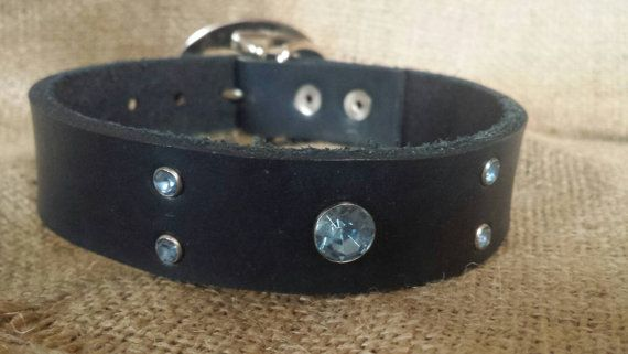 Blue leather dog collar with gems by SHFLeather on Etsy