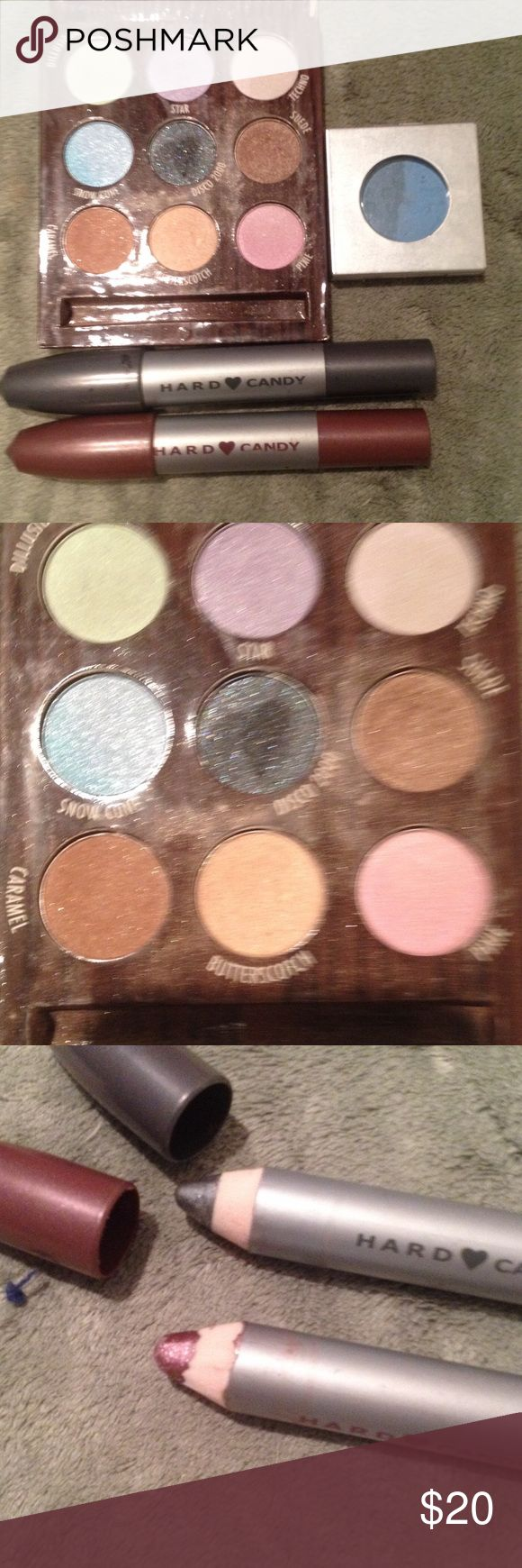 Hard Candy make up Hard candy eyeshadow palette along with individual blue shadow and 2 chunky pencils Hard Candy Makeup Eyeshadow