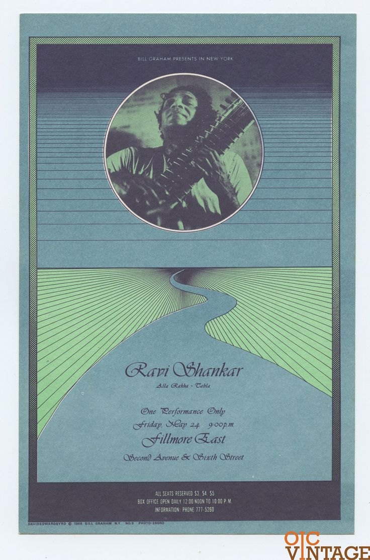 Bill Graham Fillmore East Ravi Shankar 1968 May 24 Postcard