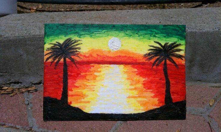Rasta melted crayon art