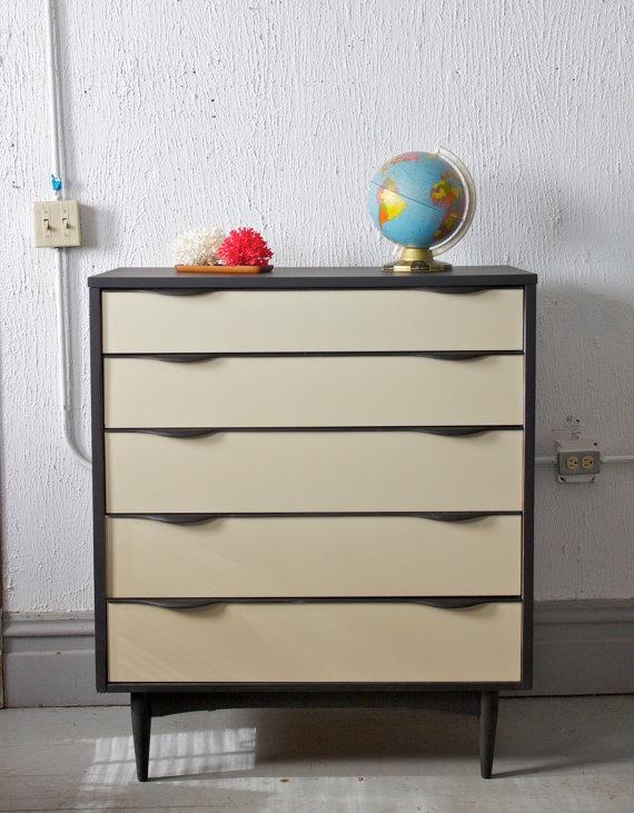 Best Mid Century Modern Painted 5 Drawer Tall Dresser 400 x 300