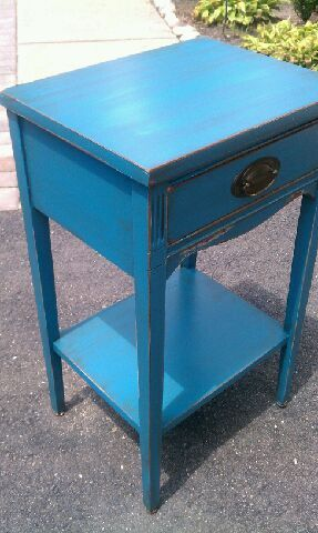 Shabby Chic Accent Table. Hand Painted In A Blue Paint , Distressed And  Glazed.