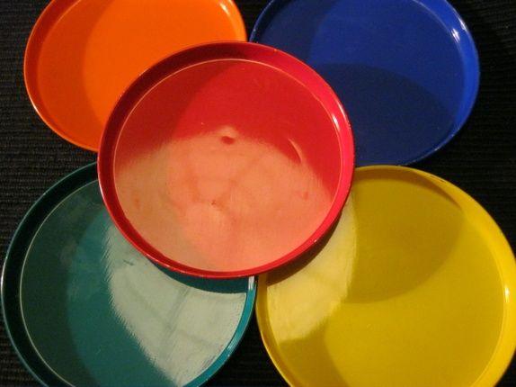 Retro - 5 glassbrikker knallfarger