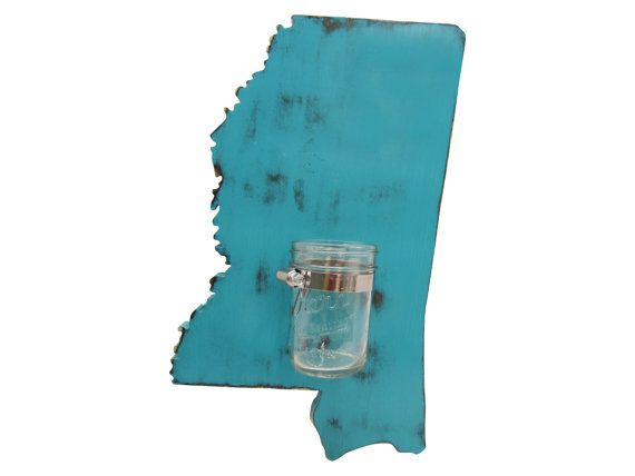 Mississippi State with Mason Jar Vase Repurposed by ThePineNuts, $38.00