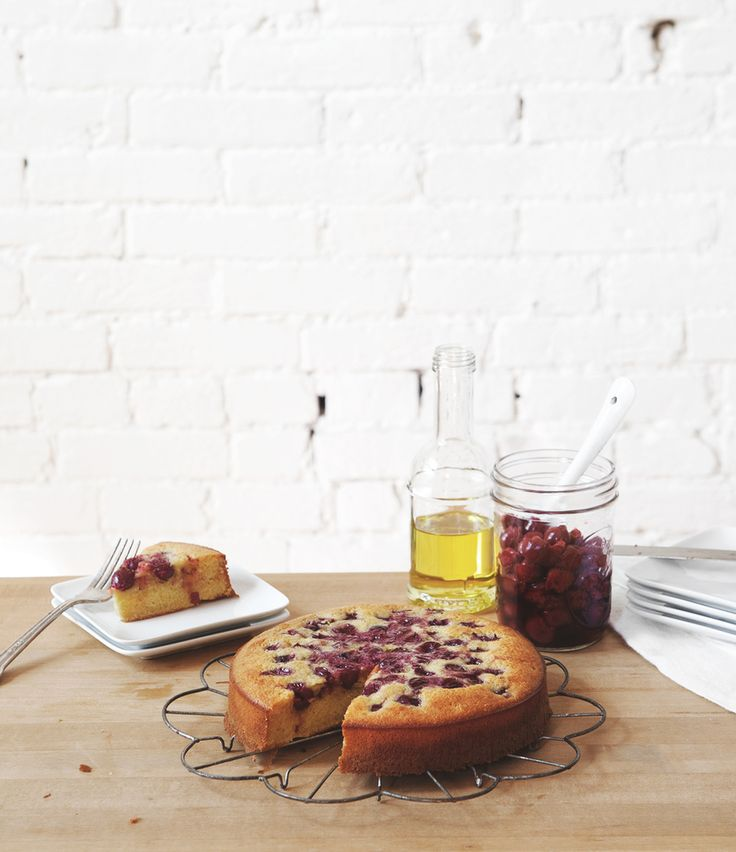 Olive Oil Cornmeal Cake with Sour Cherries -a Better Happier St ...