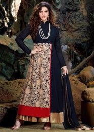 Party Wear Georgette Blue Embroidered Work Anarkali Suit