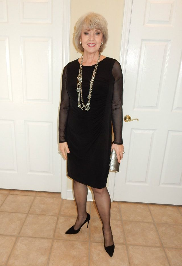 Susan from Fifty Not Frumpy is stunning in a black cocktail dress.
