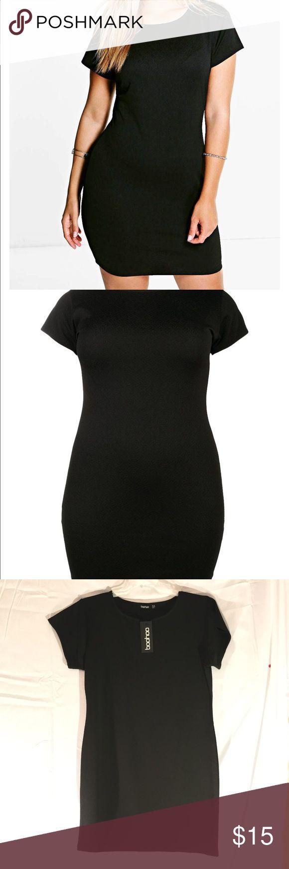 Textured fabric mini dress, Black, Size 16 Black plus size mini dress, Size 16, NWT, Polyester, lightweight material Boohoo Plus Dresses Mini