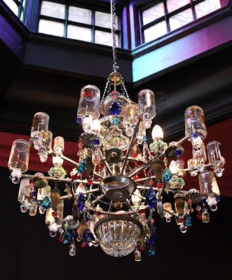Perfume Bottle Chandelier from Madeleine Boulesteix Chandeliers...installed at Penhaligon's  Mayfair shop.