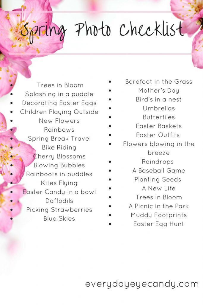 There are so many photo opps in the spring! Check out this free downloadable spring photo checklist to help you take great photos this spring!
