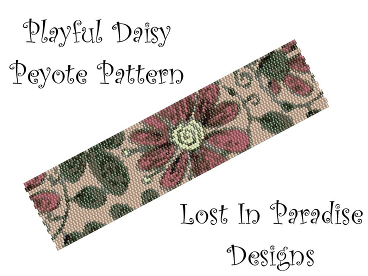 Peyote Bracelet Pattern - Playful Daisy  - Peyote Stitch Pattern (Buy any 2 and get one Free). $6.50, via Etsy.