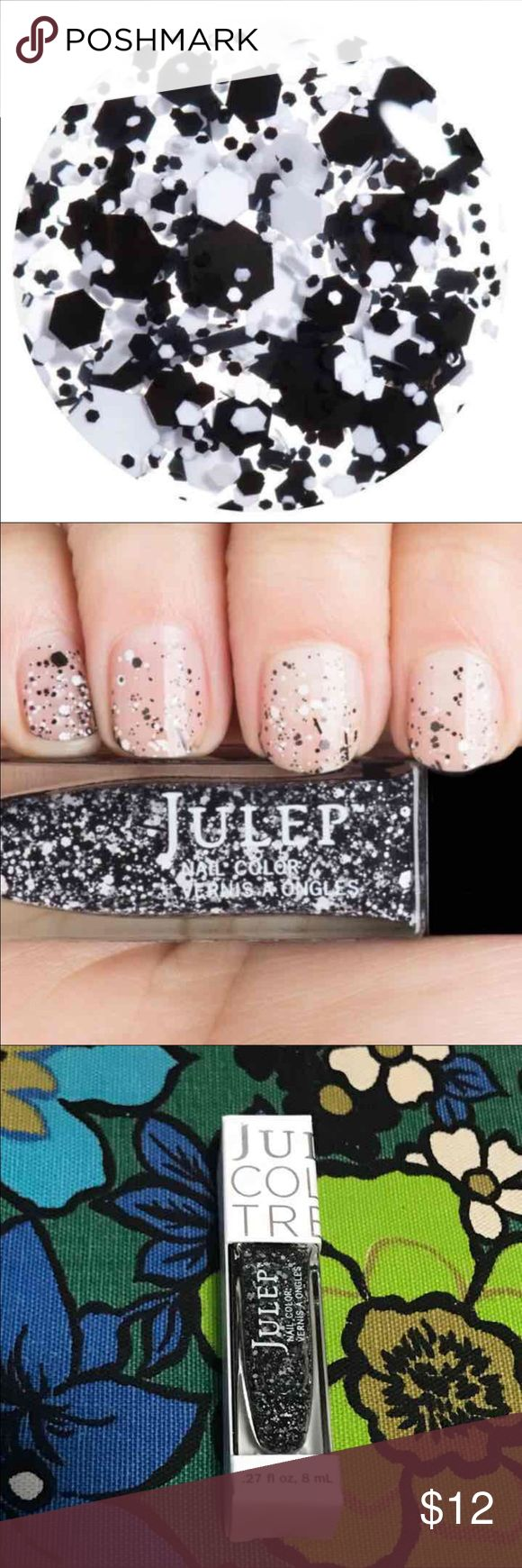 """BNIB Julep Nail Polish Max Graffiti Effect Brand new in box! Julep Nail Polish in color """"Max."""" Really cool black and white graffiti splatter top coat. Typically retails for $14.99.  I do offer a bundle discount! Just let me know :)  #Julep #nailpolish #Polish #max #classic #chic #manicure  #pots #speckled #b&aw #blackandwhite #graffiti #topcoat Sephora Makeup"""