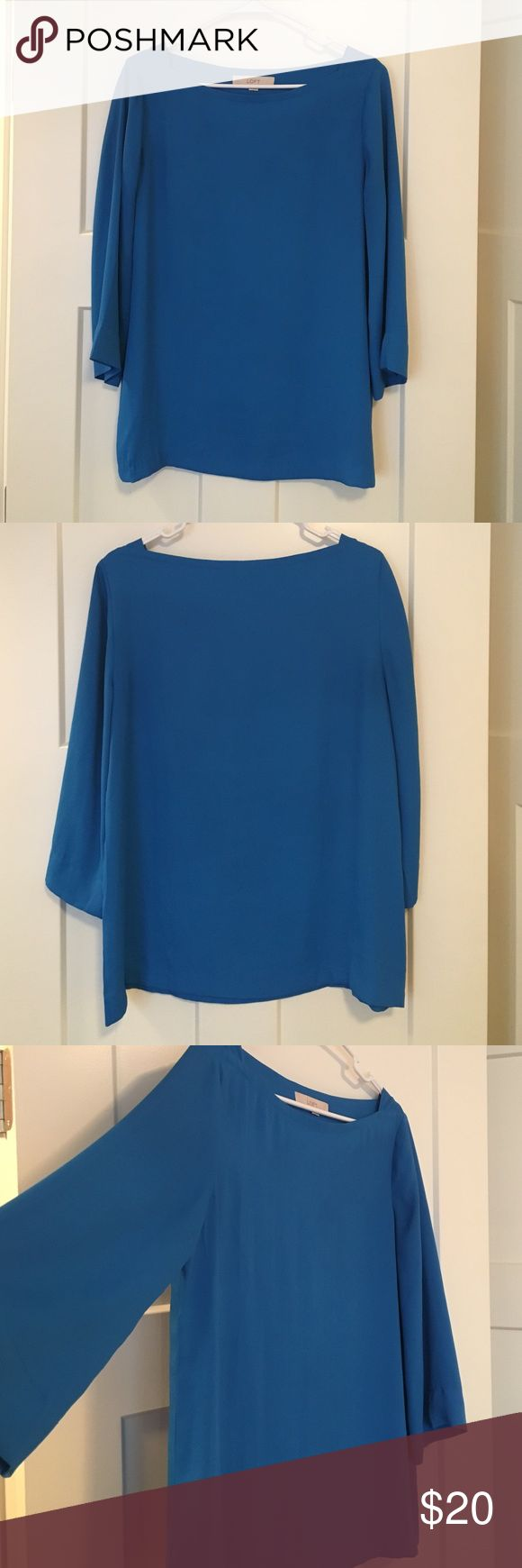 Ann Taylor Blouse Blue, 3/4 sleeved, chiffon blouse. Perfect for the office, football games or date night! Ann Taylor Tops Blouses