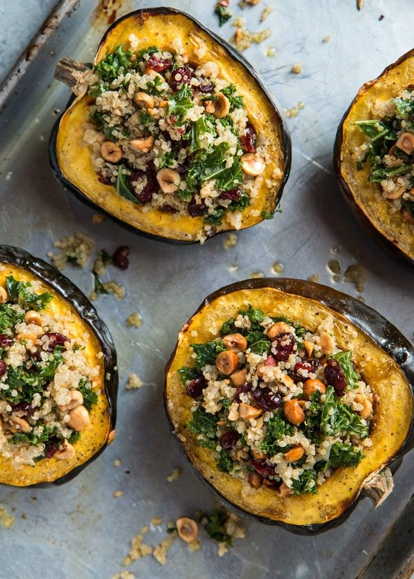 Stuffed Acorn Squash with Hazelnuts, Quinoa, and Kale - Will Cook For Friends