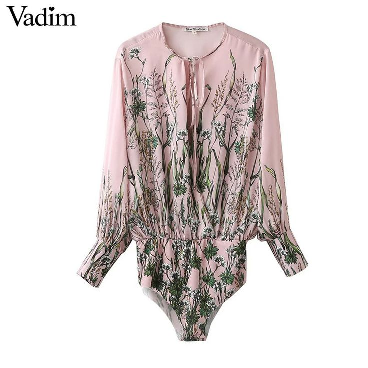 Women vintage floral tie shirt jumpsuit long sleeve elastic waist retro blouse fashion streetwear casual tops blusas