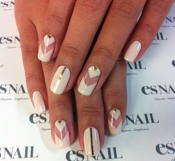 Arrow nails, Beautiful nails 2016, Fashion nails 2016, Geometric nails, Long nails, Nails with gold, Shellac nails 2016, Spectacular nails
