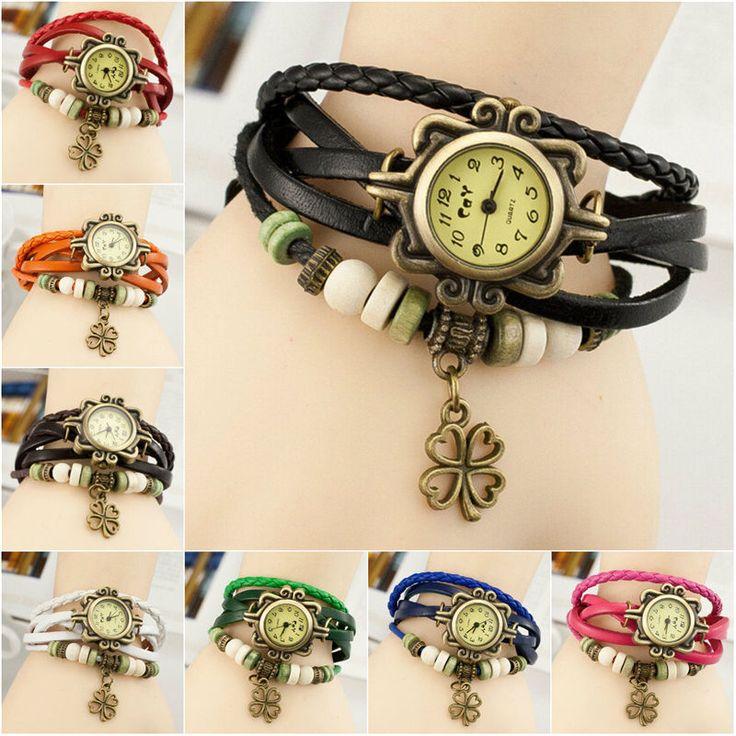 Clover Leather Women Design Retro Bracelet Quartz Wrist Watch Gift Jewelry   #Unbranded #Fashion
