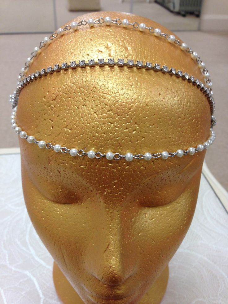 Side pearl and crystal tiara, with 3 string forehead band.