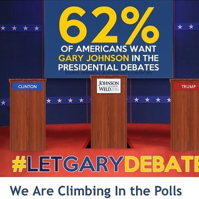 62% of us want to see him in the debates, yet we see no change. This is just another example of how the two party system constantly fails us. If they didn't see him as a threat, then why won't they let him debate? #johnsonweld2016 #gary #johnson #garyjohnson #bill #weld ##billweld #libertarian