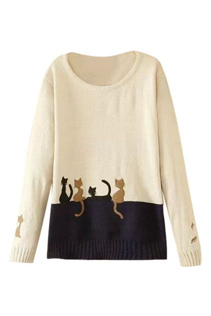 ROMWE | ROMWE Two Cats Embroidered Color Block Jumper, The Latest Street Fashion