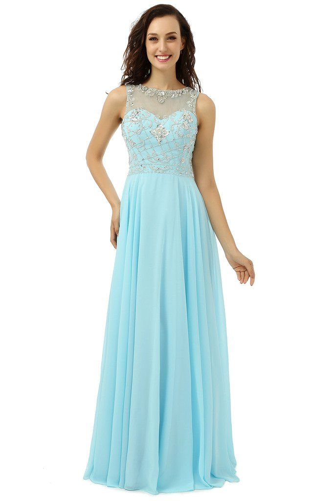 YIYUANCHENGYIN Women's Beaded Chiffon Prom Party Evening Gowns Baby Blue US12