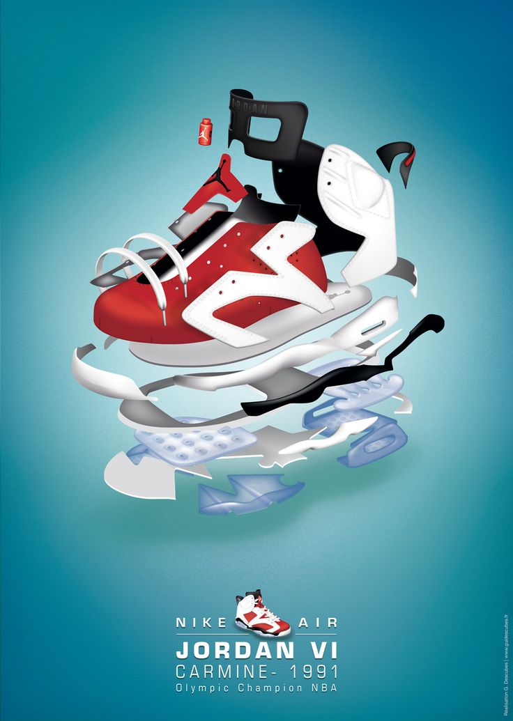 affiche, poster, graphic, design, illustrator, illustration, picture, infography, drawing, shoes, sneakers, nike, air, jordan, carmine