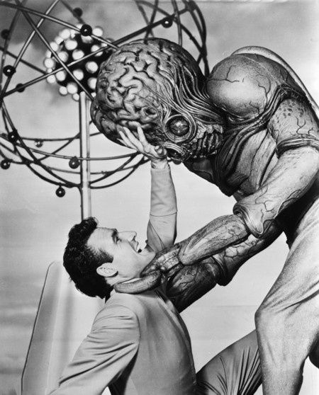 """Don't squish my brain!"" From ""This Island Earth"" (1955) - Dr. Cal Meacham (Rex Reason) fighting off a Metaluna Mutant"