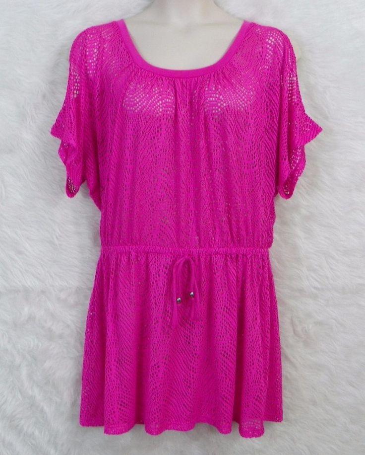 Womens CATALINA Sheer Pink Open Shoulder Elastic Waist Swim Cover Up Dress SZ XL #Catalina #CoverUp