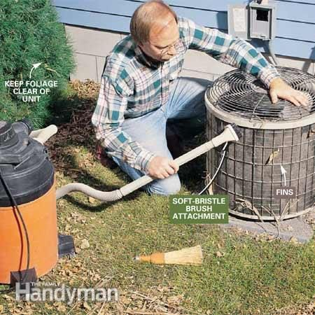 How to clean air conditioner unit  http://www.familyhandyman.com/heating-cooling/air-conditioner-repair/cleaning-air-conditioners-in-the-spring/view-all