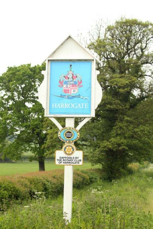 A sign for Harrogate which has been crowned the happiest place to live in…