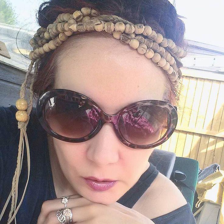 #MixedMediaArt #picsart edit #selfie #Selfieoftheday Working on admin #boho style - my best #tulsi beads #sunglasses & #patchoulioil! (#nomakeup - just a little #lushcosmetics tinted lip balm). New Mayastar Online #EnergyHealing & #SpiritualDevelopment o