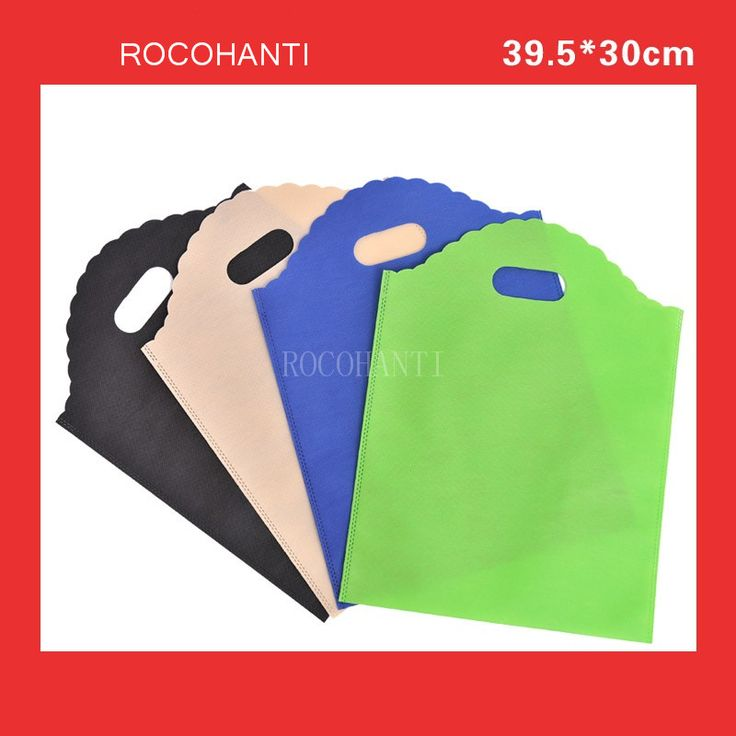 50x Non-woven bags with wave handle customized underwear clothing eco-friendly non woven bag blank