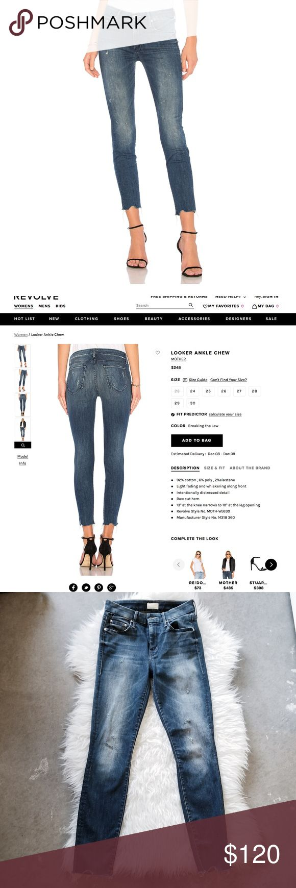 """MOTHER Denim - Looker Ankle Chew The Looker Ankle Chew from Mother Denim in Breaking the Law.  New without tags  This slim, straight leg jeans has a RAW hemline in a faded blue wash, with subtle whiskering and intentional distressed details throughout, featuring a mid rise and a stretch fit. Single button closure with a zip fly and pockets.   92% cotton, 6% polyester and 2% elastane - these jeans are soft and stretchy. 13"""" at the knee narrows to 10"""" at the leg opening  Machine wash cold…"""