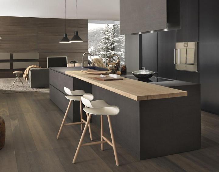 Cucine Moderne e di Design | Modulnova Cucine. Total black. L'essenza legno stacca dai mobili e crea un bel contrasto. Idee Case Canuto