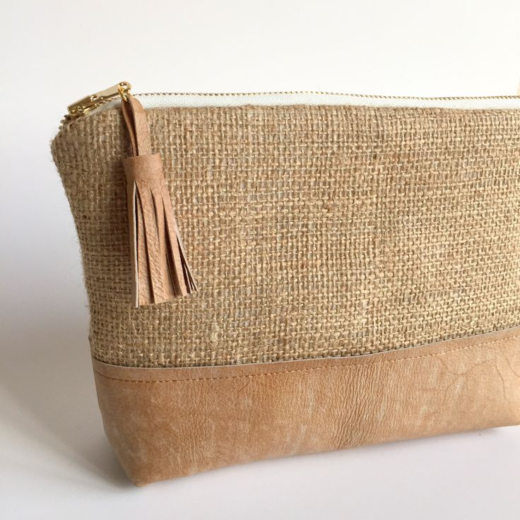Distressed Leather and Burlap Clutch,Boho Leather Clutch,Leather Clutch Bag,Distressed Leather Bag,Brown Leather Bag,Boho Burlap Clutch by GFMODE on Etsy