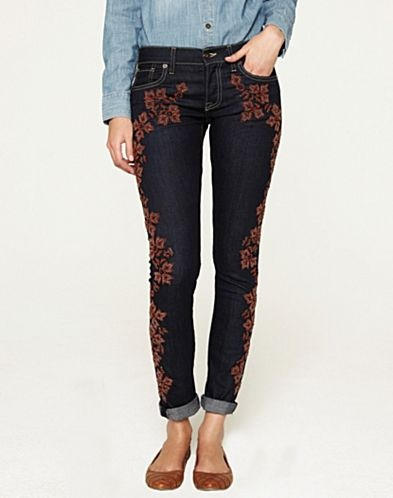 """Sienna Cigarette Embroidered Jeans - Sale - Lucky Brand Jeans- They are on """"sale"""". I may have to splurge."""