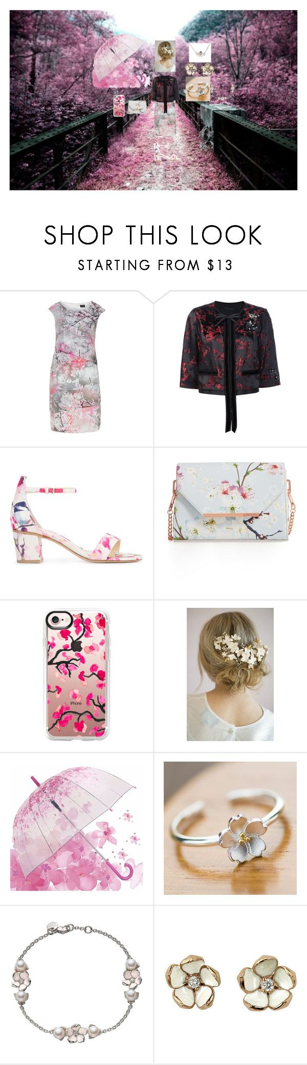 """cherry blossoms"" by mhenneberry on Polyvore featuring Hermann Lange, Marc Jacobs, Monique Lhuillier, Ted Baker, Casetify, Twigs & Honey and Shaun Leane"