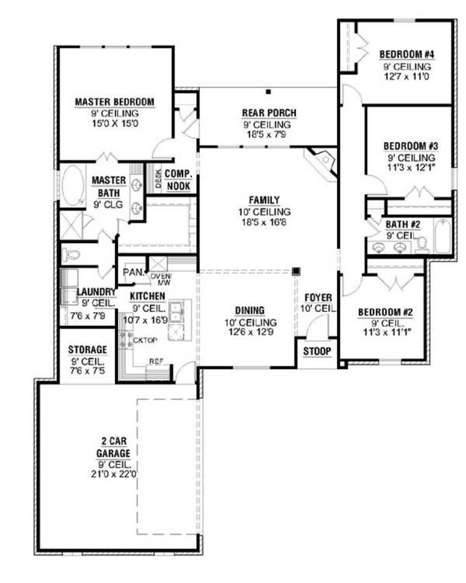 #653640 - Courtyard Entry House Plan with Four Bedrooms : House Plans, Floor Plans, Home Plans, Plan It at HousePlanIt.com