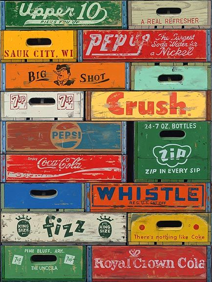 Love the old wooden soda cases. Coke, Pepsi, Fizz, Crush and more. These were great advertising.