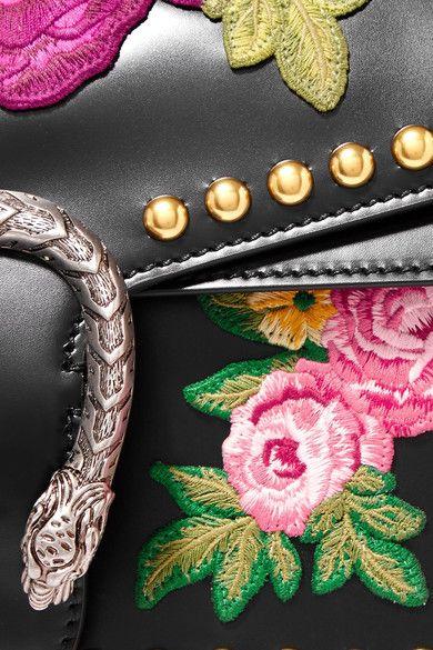 Gucci - Dionysus Studded Appliquéd Leather Shoulder Bag - Black - one size