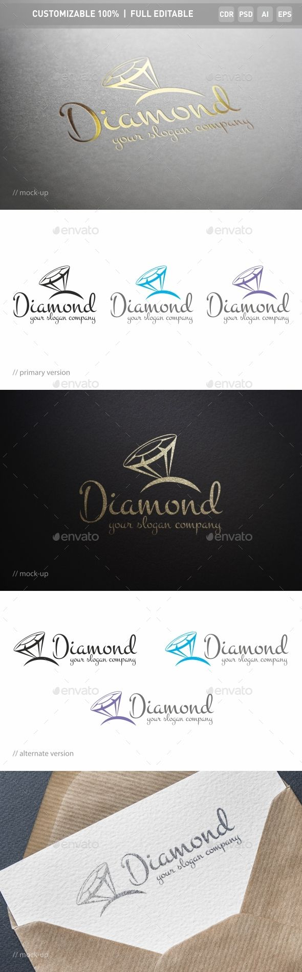 Diamonds Logo Template — Photoshop PSD #diamond logo #high-class • Download here → https://graphicriver.net/item/diamonds-logo-template/17446692?ref=pxcr