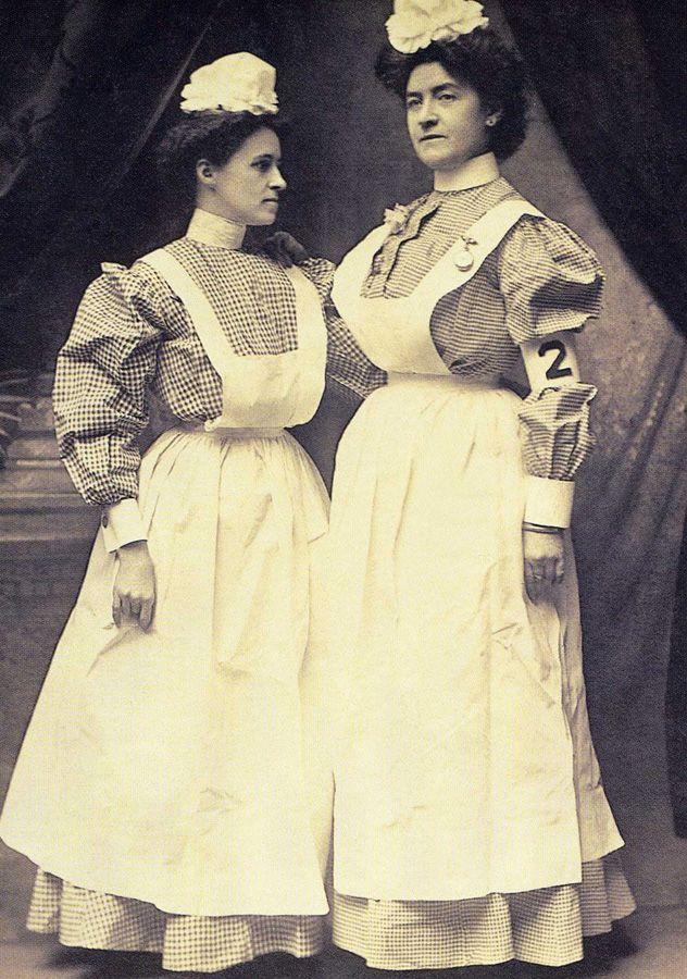 early 1900's nursing uniforms. i'd break a fast sweat in that garb!