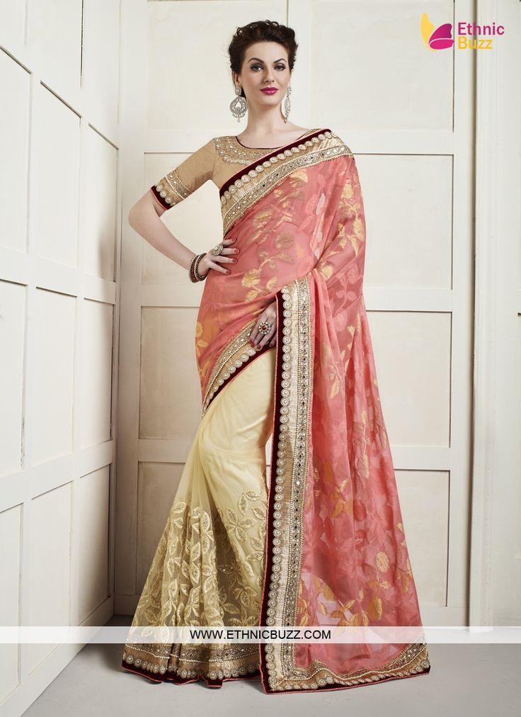 Appealing Parties Cream and Hot Pink Designer Saree