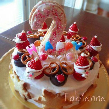 2才のお誕生ケーキクリスマスバージョン